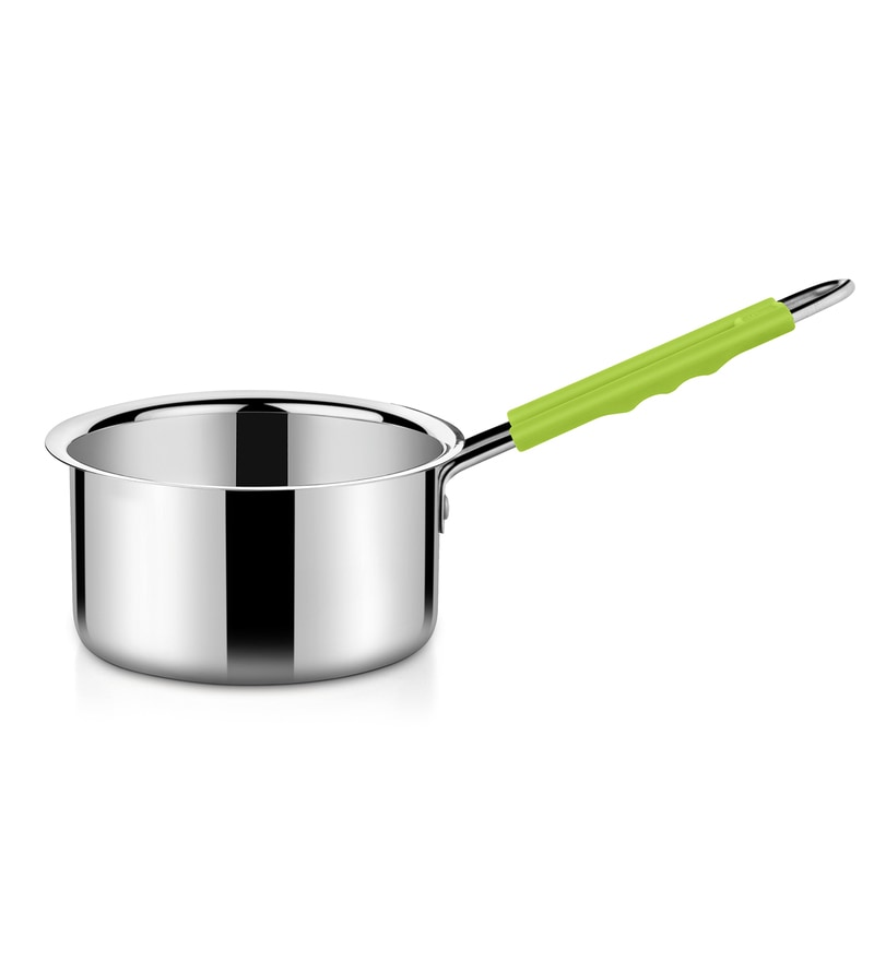 Stainless Steel 2 L Hearty Sauce Pan with Green Handle by Bonita