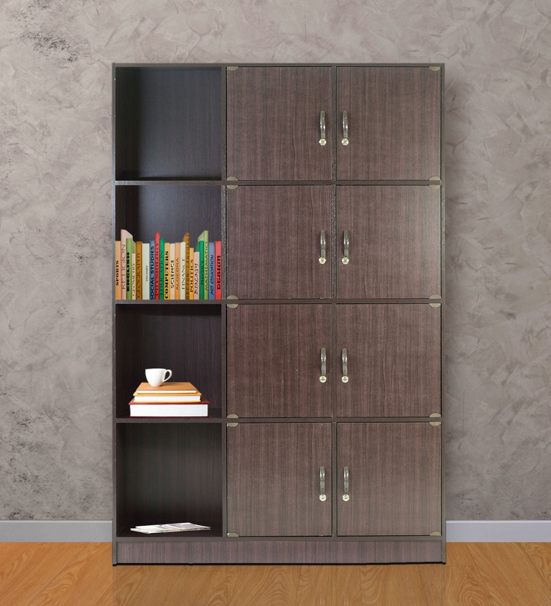 Book Shelf with Eight Cabinets & Four Shelves in Wenge Finish by Marco