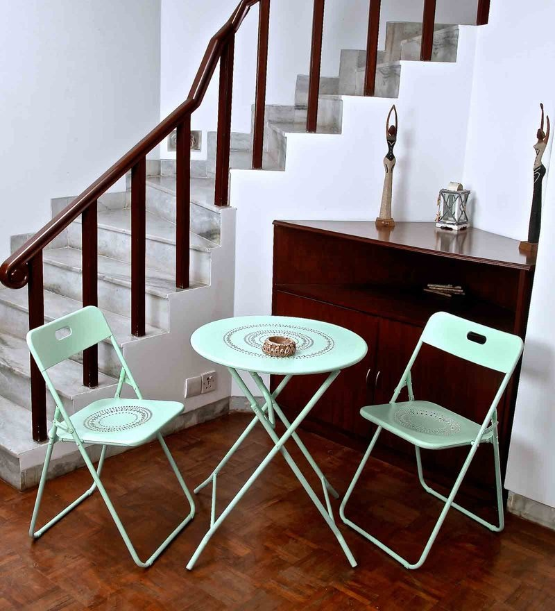 Bordeaux Steel Round Balcony Set (1T + 2C) in Mint by Hauser