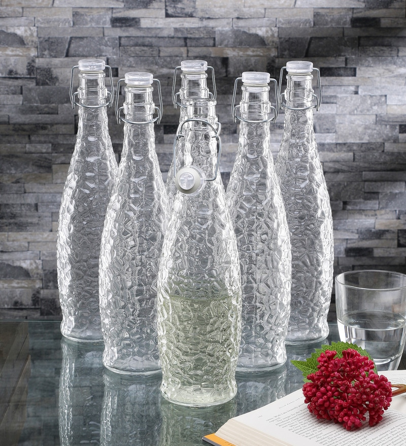 Borgonovo Glacier Glass 1 L Bottle with Clear Lid
