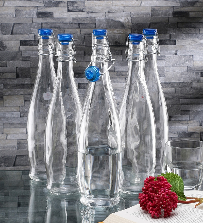 Borgonovo Indro Glass 1 L Bottle with Blue Lid