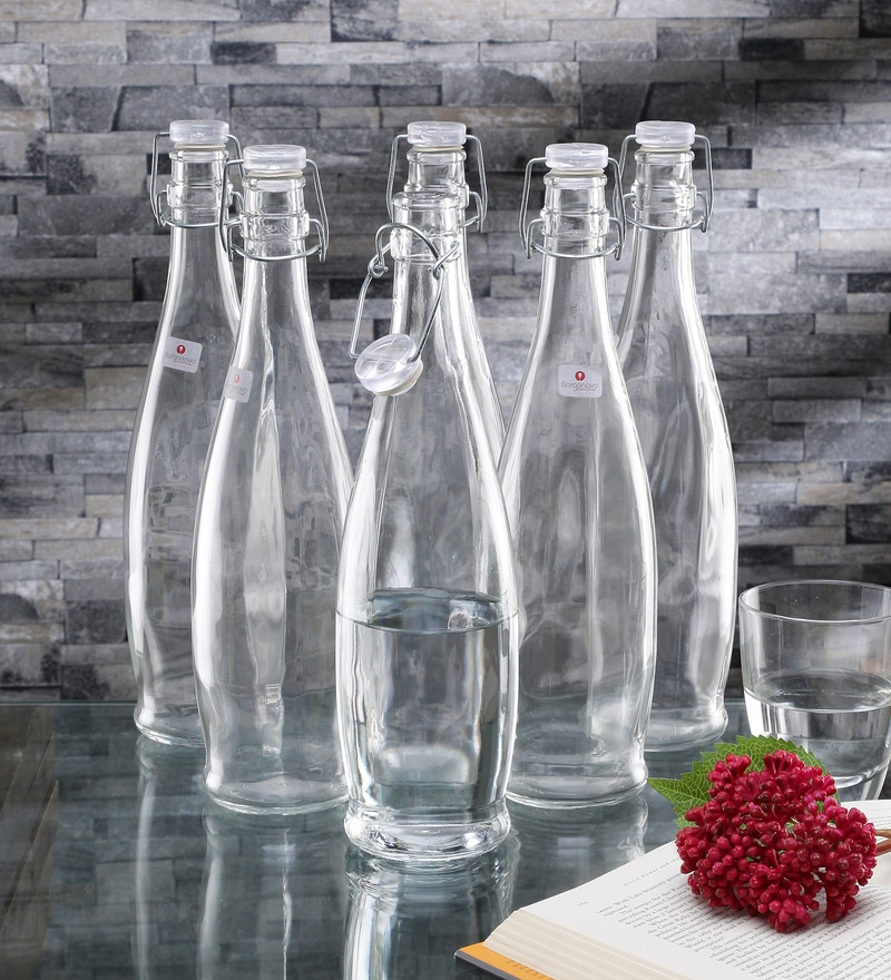 Borgonovo Indro Glass 1 L Bottle with Transparent Lid