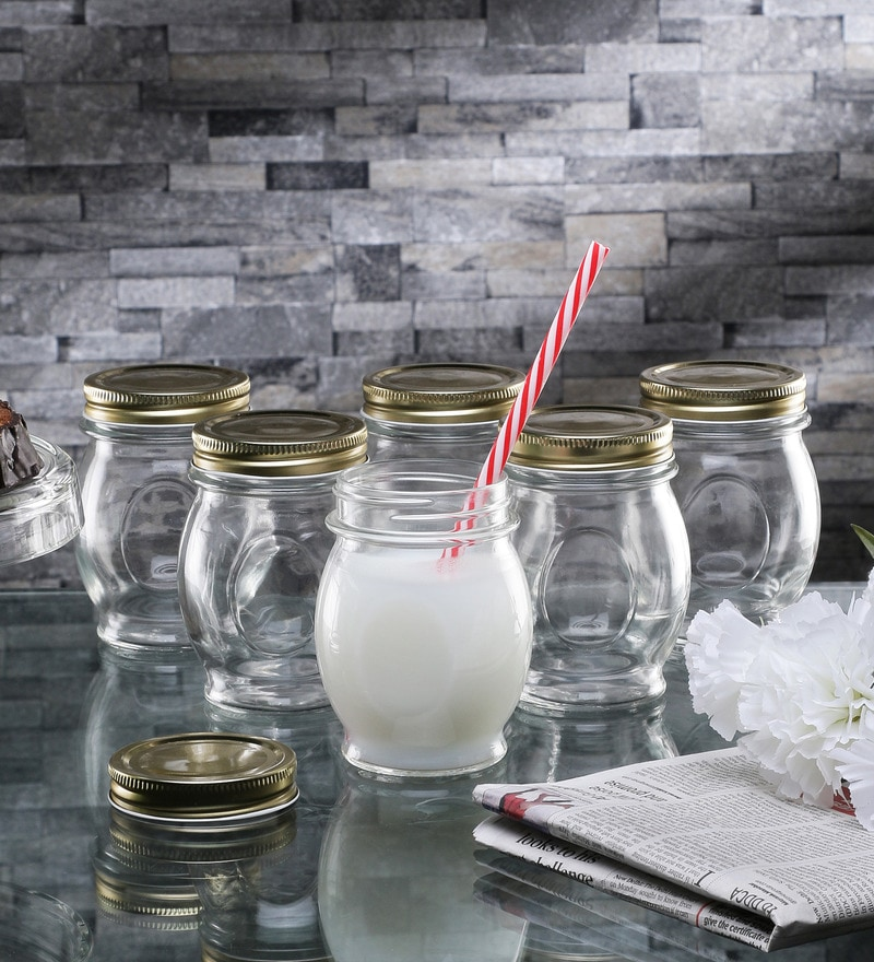 Borgonovo Ortolano Canning Glass 390 ML Mason Jars With Lid - Set Of 6