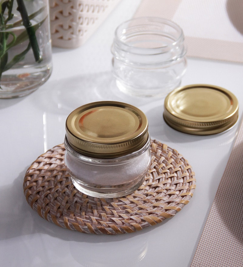 Borgonovo Ortolano Round 156 ML Canning Jar With Golden Lid - Set Of 6
