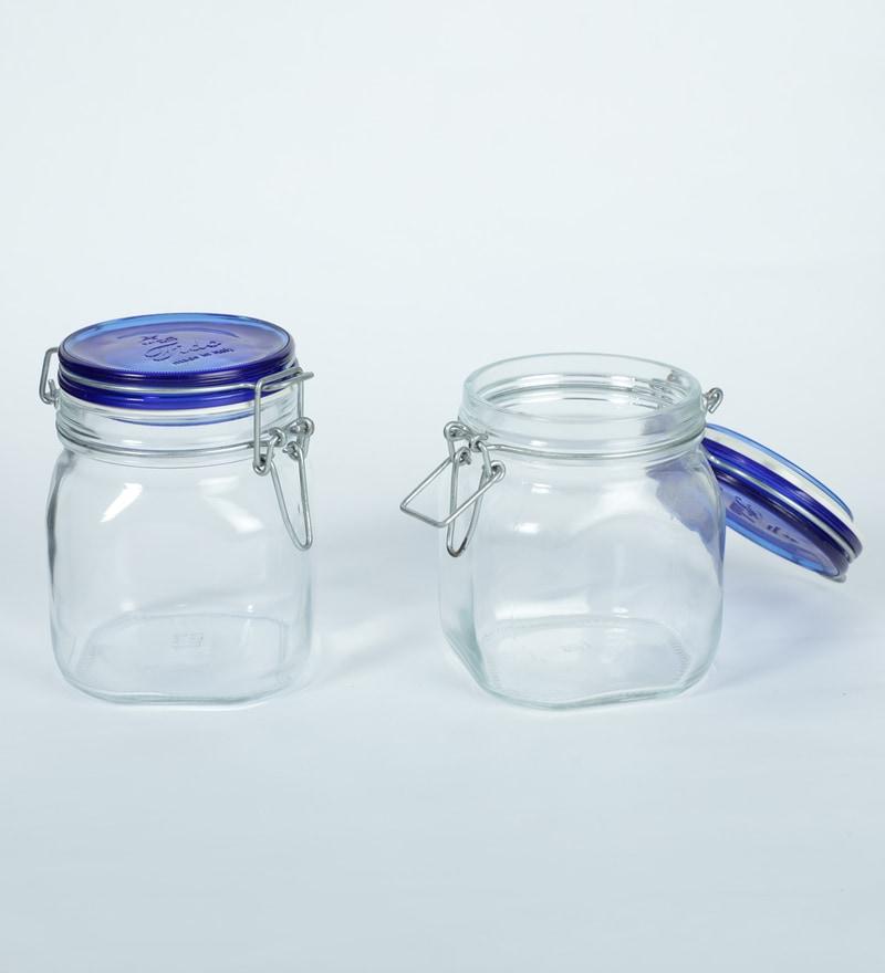 Buy Bormioli Rocco Fido Blue Lid Glass 1 L Jar Set Of 2
