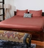 Bombay Dyeing Rust Cotton Striped Double Bed Sheet (with Pillow Covers)