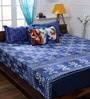 Bombay Dyeing Blue Cotton King Size Bedsheet - Set of 5