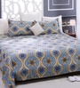 Blue Cotton Queen Size Bed Sheet - Set of 3 by Bombay Dyeing