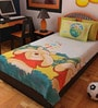 Cartoon Print Single Cotton Bedsheet in Blue with 2 Pillow Covers by Bombay Dyeing