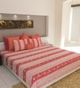 Dewdrop Coral Cotton Double Bed Sheet (with Pillow Covers) by Bombay Dyeing