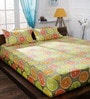 Lime Cotton Queen Size Bedsheet - Set of 3 by Bombay Dyeing