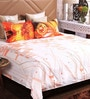 Orange Cotton King Size Bedsheet - Set of 3 by Bombay Dyeing