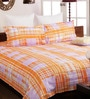 Bombay Dyeing Orange Poly Cotton Queen Size Bedsheet - Set of 3