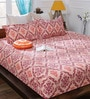 Bombay Dyeing Peach Cotton Queen Size Bedsheet - Set of 3