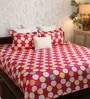 Red Poly Cotton Queen Size Bedsheet - Set of 3 by Bombay Dyeing