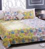 Bombay Dyeing Yellow 100% Cotton Queen Size Bed Sheet - Set of 3
