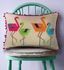 Beige & Colourful Cotton Linen 12 x 18 Inch Flamingo Pattern Embroidery Cushion Cover by Bombay Mill