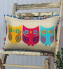 Bombay Mill Beige & Colourful Cotton Linen 12 x 18 Inch Owl Pattern Embroidery Cushion Cover