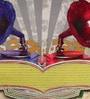 Multicolour Matt Satin 16 x 16 Inch Retro Style Gramophone Print & Embroidery Cushion Cover by Bombay Mill