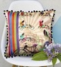 Multicolour Matt Satin 16 x 16 Inch Retro Style Rickshaw Print & Embroidery Cushion Cover by Bombay Mill