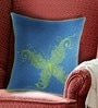 Blue & Green Polyester 16 x 16 Inch Butterfly Embroidery Cushion Cover by Bombay Mill
