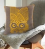 Grey & Yellow Cotton 16 x 16 Inch Owl Embroidery Cushion Cover by Bombay Mill