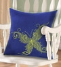 Indigo & Green Polyester 16 x 16 Inch Butterfly Embroidery Cushion Cover by Bombay Mill