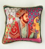 Multicolour Matt Satin 16 x 16 Inch Mughal Style Print & Embroidery Cushion Cover by Bombay Mill