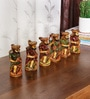 Ethnic Clock Makers Multicolour Solid Wood Showpiece - Set of 6