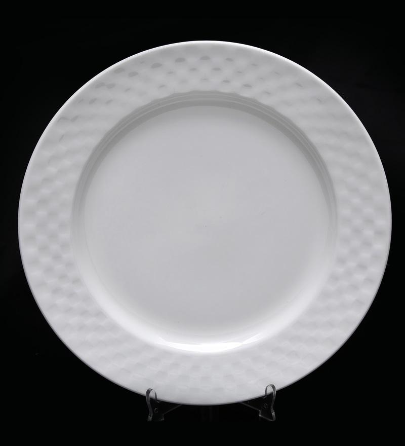 Bp Bharat Checker Fine Bone China Plate - Set of 6