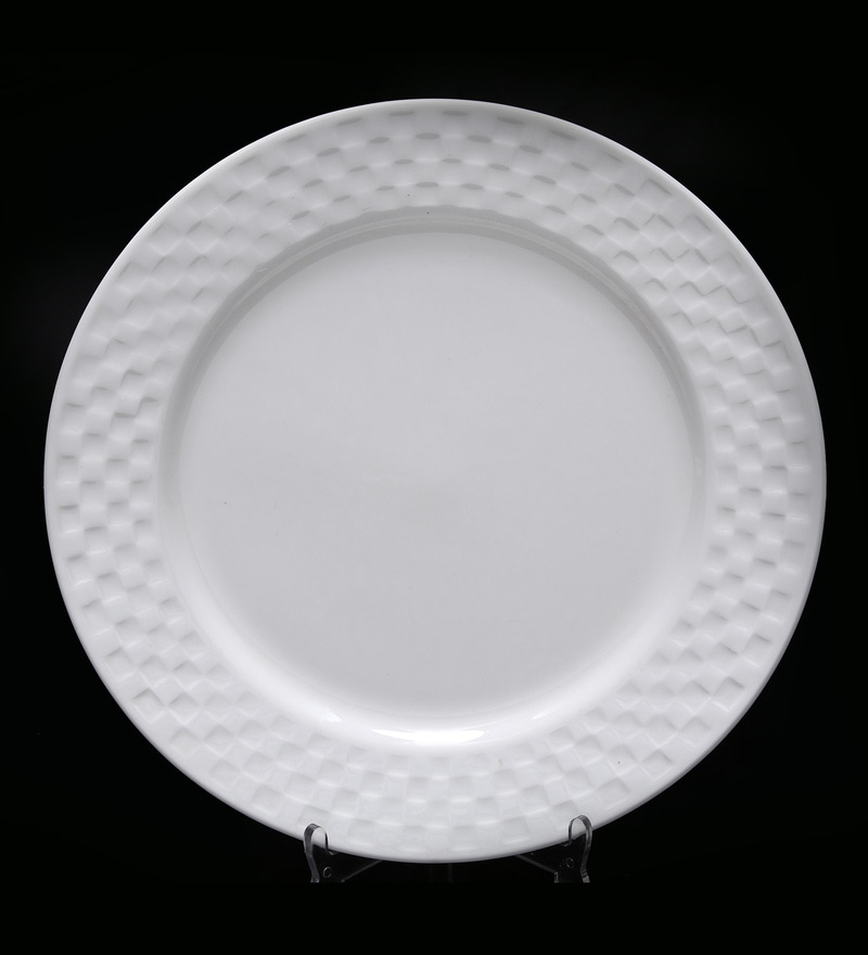 Bp Bharat Checker Fine Bone China Plate - Set of 12