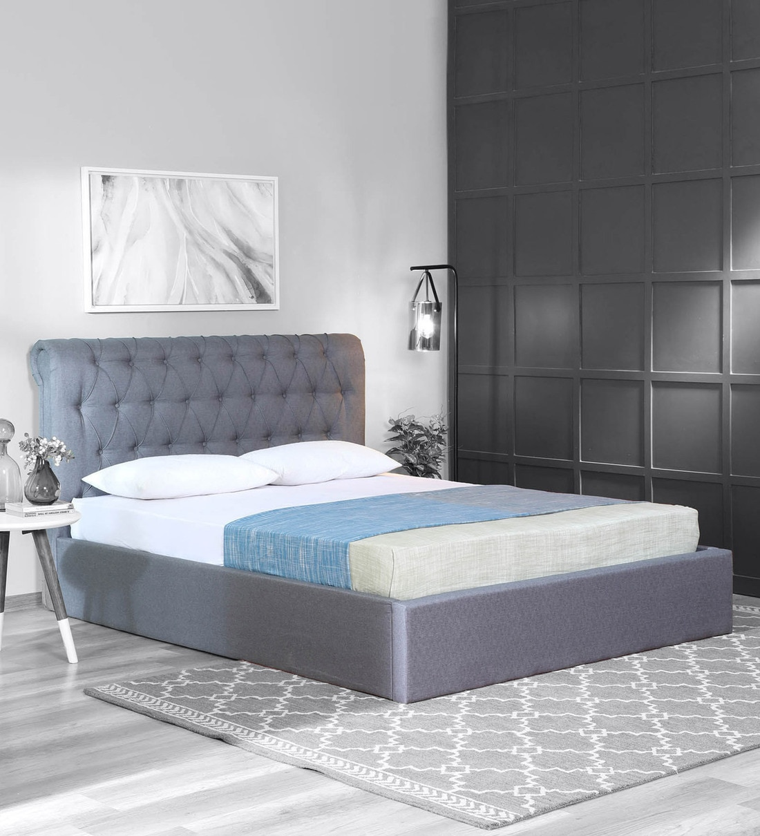 Buy Brayan Upholstered Queen Size Bed With Hydraulic Storage In Light Grey Colour Casacraft By Pepperfry Online Queen Size Upholstered Beds Beds Furniture Pepperfry Product