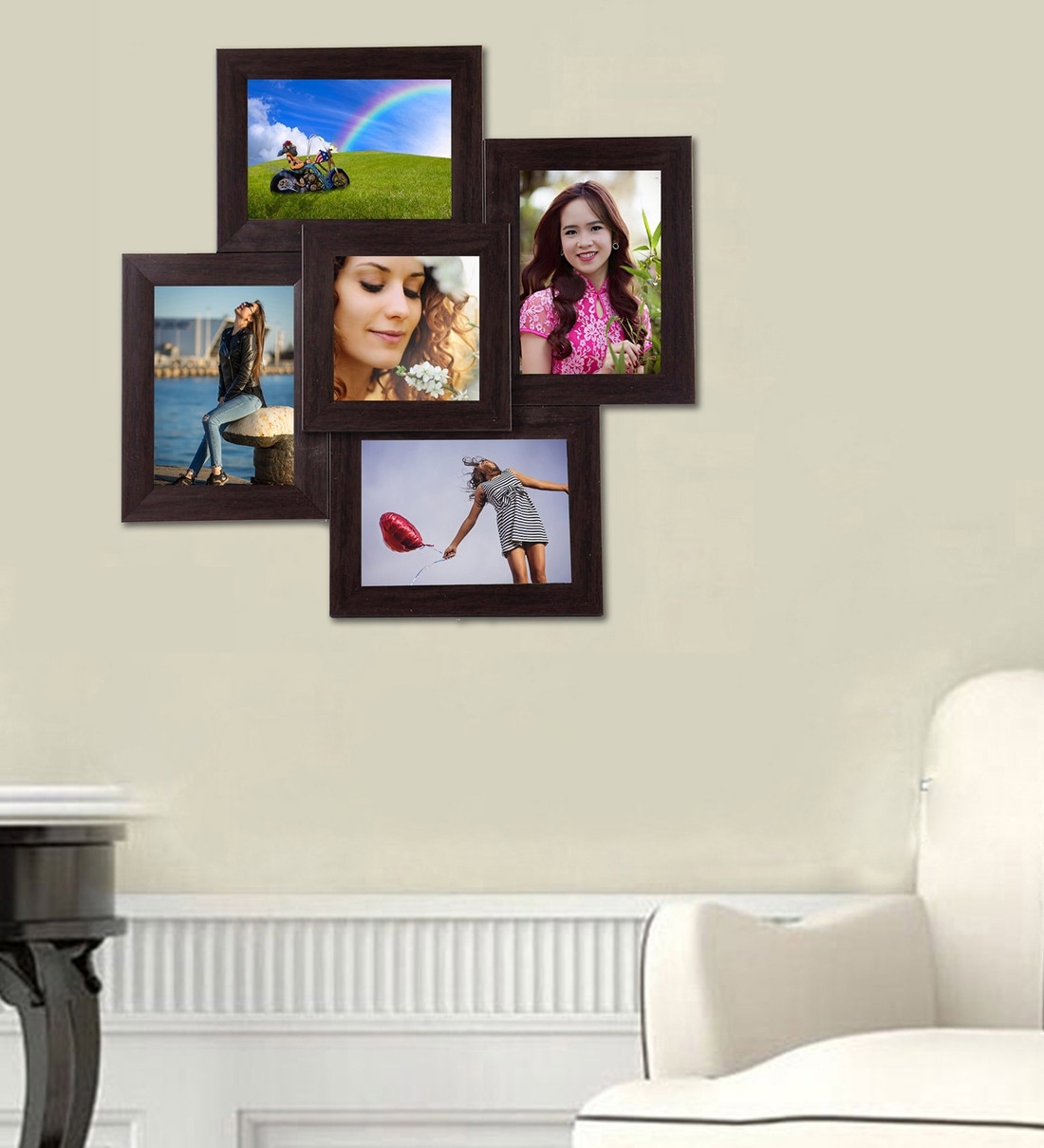 Buy Brown Synthetic Wood Wall Mounted Collage Photo Frame By Wens Online Multi Photo Frames Photo Frames Home Decor Pepperfry Product