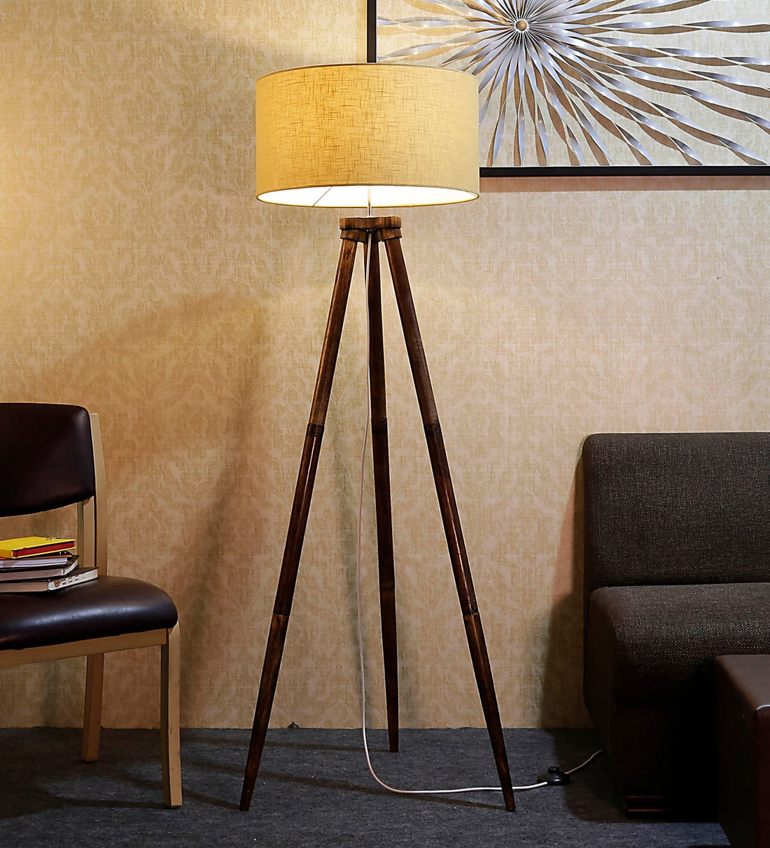 Buy Beige Fabric Shade Tripod Floor Lamp With Brown Base By Craftter Online Modern And Contemporary Floor Lamps Floor Lamps Lamps Lighting Pepperfry Product