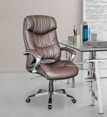 Plush Executive Chair in Brown Leatherette