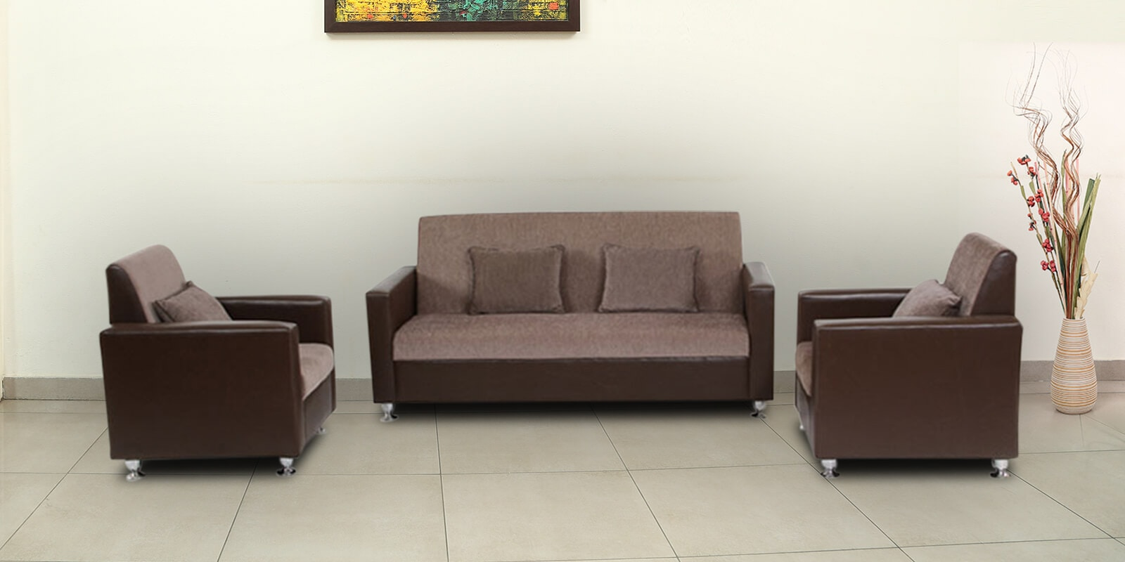 Buy Browntulip Sofa Set 3 1 1 Seater By Arra Online Classic Sofa Sets Sofa Sets Furniture Pepperfry Product