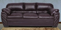 Brayden Three Seater Sofa in Dark Brown Leatherette