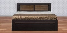 Bronze Queen Size Bed with Storage in Wenge & High Gloss Zebrano Finish