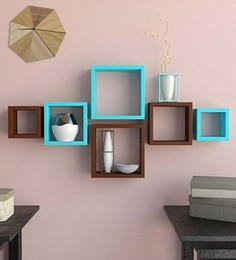 Brown & Blue Engineered Wood Square Wall Shelves - Set Of 6 By Home Sparkle