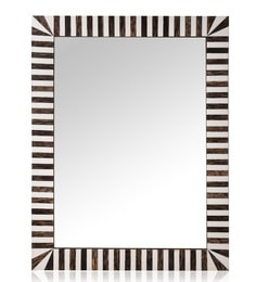 Brown & White MDF & Glass Zebra Mirror
