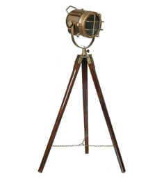Brown Aluminum And Steel Tripod Floor Lamp - 1713858