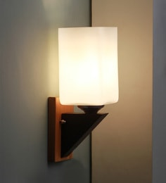 Brown And White Glass And Wood Wall Mounted Light - 1637578