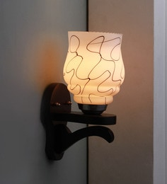 Brown And White Glass And Wood Wall Mounted Light
