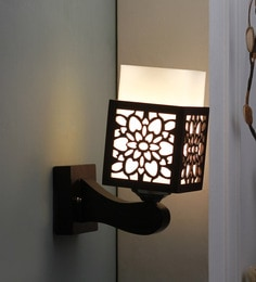 Brown And White Glass And Wood Wall Mounted Light - 1637574