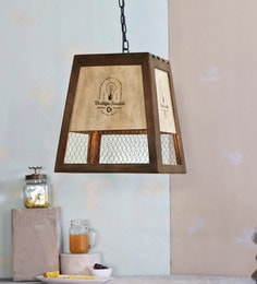 Brown And White Wood And Metal Ester Lumina Pendant Lamp