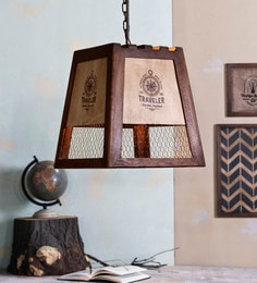 Brown And White Wood And Metal Ester Vintage Pendant Lamp