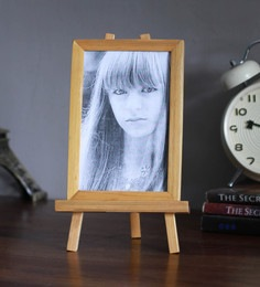 Brown Bamboo Easel Stand Photo Frame