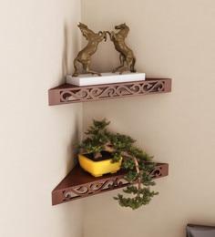 Brown Engineered Wood Corner Wall Shelves - Set Of 2