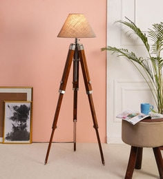 Brown Fabric Floor Tripod Lamp