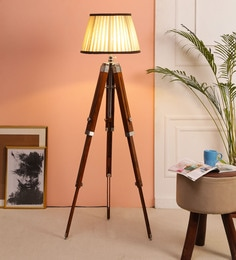 Brown Fabric Floor Tripod Lamp - 1693671